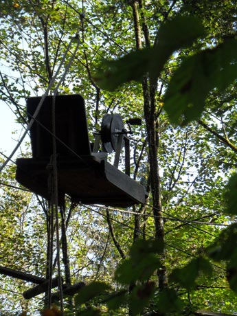 Kletterwald Prien am Chiemsee - Seilwinde in den Baumwipfeln